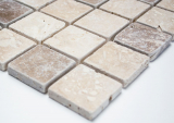 Mosaik Fliese Travertin Naturstein beige braun Chiaro + Noche Travertin MOS43-1216