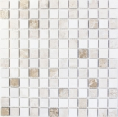Mosaik Fliese Marmor Naturstein beige braun Botticino Cappuccino Emperador Light tumbled MOS43-46266