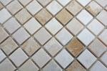 Mosaik Fliese Marmor Naturstein beige braun Botticino Cappuccino Emperador Light tumbled MOS43-46266_m