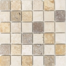 Mosaik Fliese Travertin Naturstein beige braun Travertin tumbled MOS43-46685