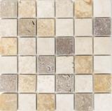Mosaik Fliese Travertin Naturstein Medio beige braun goldbraun mix Fliesenspiegel Küchenrückwand Wandfliese - MOS43-46685