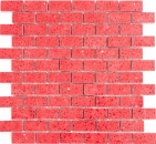Mosaik Fliese Quarz Komposit Kunststein Brick Artificial rot MOS46-ASMB4