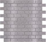 Mosaik Fliese Quarz Komposit Kunststein Brick Artifical grau MOS46-0204