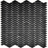 Mosaik Fliese ECO Recycling GLAS Fischgrät Enamel schwarz matt MOS140-HB31B_f | 10 Mosaikmatten