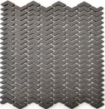 Mosaik Fliese ECO Recycling GLAS Fischgrät Enamel graubraun matt MOS140-HB35G
