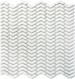 Mosaik Fliese ECO Recycling GLAS Fischgrät Enamel weiß matt MOS140-HB37W