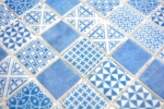 Retro Vintage Mosaik Fliese ECO Recycling GLAS ECO blau patchwork MOS145-P-40_m