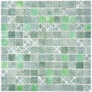 Retro Vintage Mosaik Fliese ECO Recycling GLAS ECO grün patchwork MOS145-P-60