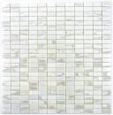 Mosaikfliese ECO Recycling GLAS Rechteck ECO weiß metallic 3D MOS355-01_f | 10 Mosaikmatten