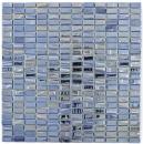 Mosaikfliese ECO Recycling GLAS Rechteck ECO schwarz metallic 3D MOS355-09_f | 10 Mosaikmatten
