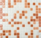 Mosaik Fliese Glas weiß braun dunkelbraun MOS52-1002