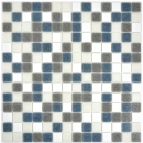 Mosaikfliese Glas weiß grau metallic Wandfliesen Badfliese Duschrückwand Fliesenspiegel MOS210-P001625