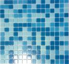 Schwimmbad Mosaik  Poolmosaik Fliese Glas hellblau blau papierverklebt MOS52-0402_Papier