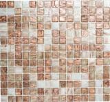 Mosaikfliese Glas Goldstar klar weiß bronze Wandfliesen Badfliese Duschrückwand Fliesenspiegel MOS54-1302