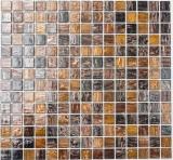 Mosaikfliese Glas Goldstar braun Wandfliesen Badfliese Duschrückwand Fliesenspiegel MOS54-1306