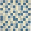 Mosaik Fliese Transluzent Glasmosaik Crystal weißmetallic silbermetallic grau MOS63-0122