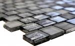 Mosaikfliese Transluzent Glasmosaik Crystal Struktur schwarz klar gefrostet MOS78-CF81_f | 10 Mosaikmatten