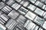 Mosaikfliese Transluzent Glasmosaik Crystal Struktur schwarz klar gefrostet MOS78-CF81_m