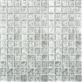 Mosaikfliese Transluzent Glasmosaik Crystal silber Struktur BAD WC Küche WAND MOS68-4SB11