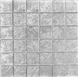 Mosaikfliese Transluzent Glasmosaik Crystal silber Struktur BAD WC Küche WAND MOS68-4SB21