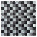 Mosaik Fliese Transluzent schwarz Glasmosaik Crystal silber schwarz Struktur MOS126-1703