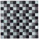 Mosaik Fliese Transluzent schwarz Glasmosaik Crystal silber schwarz Struktur MOS126-1783