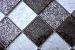 Mosaikfliese Transluzent schwarz Glasmosaik Crystal silber schwarz Struktur MOS126-1784