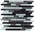 Mosaik Fliese Transluzent schwarz Verbund Glasmosaik Crystal silber schwarz Struktur MOS86-1703