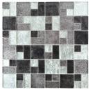 Mosaik Fliese Transluzent schwarz Kombination Glasmosaik Crystal silber schwarz Struktur MOS88-1703