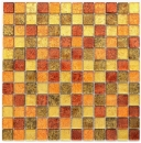 Mosaik Rückwand Transluzent Glasmosaik Crystal gold orange Struktur MOS120-07414_f
