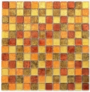 Mosaik Rückwand Transluzent Glasmosaik Crystal gold orange Struktur MOS120-07814_f
