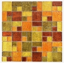 Mosaikfliese Transluzent Kombination Glasmosaik Crystal gold orange Struktur MOS88-07814