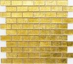 Mosaikfliese Transluzent Brick Glasmosaik Crystal gold Struktur MOS120-0784