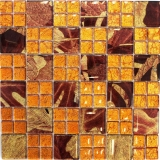 Mosaikfliese Transluzent Kombination Glasmosaik Crystal Sunrise orange MOS88-8SRO