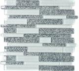 Mosaikfliese Transluzent weiß grau Verbund Glasmosaik Crystal Chic Flowers MOS86-8CFL