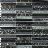 Mosaikfliese Transluzent schwarz Stäbchen Glasmosaik Crystal Night black MOS87-STNB