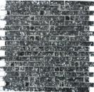 Mosaikfliese Transluzent schwarz Verbund Glasmosaik Crystal steinschwarz MOS87-MV718