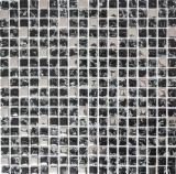 Mosaikfliese Transluzent schwarz silber Glasmosaik Crystal EP schwarz silber MOS92-1099