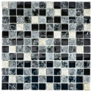 Mosaikfliese Transluzent grau schwarz Glasmosaik Crystal Resin grau schwarz silber gefrostet MOS92-0333