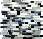 Mosaikfliese Transluzent weiß grau schwarz Verbund Glasmosaik Crystal EP weiß grau schwarz MOS87-IL007