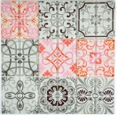 Retro Vintage Mosaik Fliese Transluzent grau rot Glasmosaik Crystal FRANCE MOS68-Retro-F