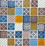 Retro Vintage Mosaikfliese Transluzent weiß blau orange grau Glasmosaik Crystal Optik MOS78B-0123