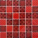 Retro Vintage Mosaik Fliese Transluzent rot Glasmosaik Crystal Optik rot MOS78B-0902