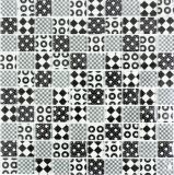 Retro Vintage Mosaikfliese Transluzent weiß Glasmosaik Crystal Optik schwarz MOS88-8OP5