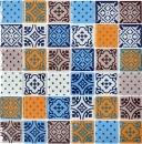 Retro Vintage Mosaikfliese Transluzent weiß blau orange grau Glasmosaik Crystal Optik MOS68-4OP12