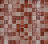 Mosaikfliese Transluzent strichbeige Glasmosaik Crystal strichbeige MOS64-1209