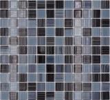 Mosaikfliese Transluzent strichschwarz weiß Glasmosaik Crystal strichschwarz weiß MOS64-0302