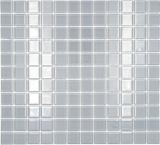 Mosaikfliese Transluzent grau Glasmosaik Crystal hellgrau BAD WC Küche WAND MOS60-0204
