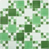 Mosaikfliese Transluzent grün Kombination Glasmosaik Crystal grün grün matt MOS78-0504