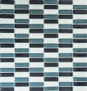 Mosaikfliese Transluzent grau Stäbchen Glasmosaik Crystal grau BAD WC Küche WAND MOS77-0204